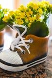 Le ressort jaune fleurit dans un vase décoré par chaussure Image stock