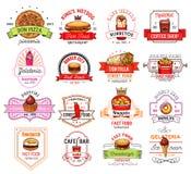 Le restaurant, le café et la pizzeria d'aliments de préparation rapide badge Image libre de droits