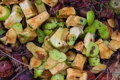 Le reste des pommes vertes et putréfiées découpées Photos stock