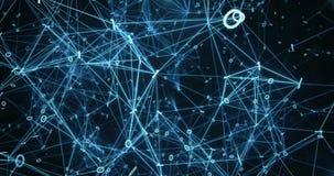 Le reti di trasmissione di dati binarie di palpitazione di Digital sottraggono il fondo 4k di moto illustrazione vettoriale