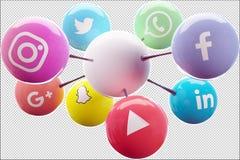 Le reti sociali si sono collegate ad un ideale bianco della palla per un logo fotografia stock