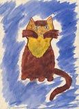 Le retrait de l'enfant du chat. Image libre de droits