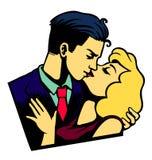 Le retro coppie degli amanti baciano l'illustrazione di vettore del giorno del ` s del biglietto di S. Valentino Fotografia Stock