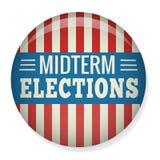 Le retro elezioni trimestrali votano o elezione Pin Button/distintivo Fotografie Stock Libere da Diritti