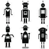 Le retro icone d'annata dei robot messe in bianco e nero hanno messo di 6 Immagine Stock Libera da Diritti