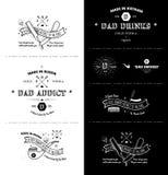 Le retro insegne d'annata d'avanguardia - tatuaggio Badges - punteggiano il lavoro Fotografia Stock