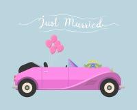 Le retro nozze dell'automobile di cabrio hanno sposato appena il veicolo di vettore illustrazione vettoriale