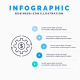 Le revenu, capital, revenus, font, faisant, l'argent, ligne icône de bénéfice avec le fond d'infographics de présentation de 5 ét illustration stock