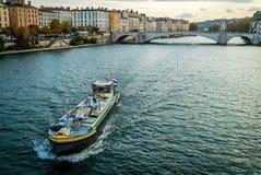Le Rhône et un accès à Lyon image stock