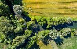 Le Rhin Tortu,史特拉斯堡南部的-盛大Est,法国一条小河 库存照片