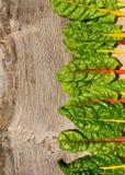 Le ricette piane di dieta sana della bietola svizzera dell'arcobaleno di disposizione deridono su backg Immagine Stock Libera da Diritti