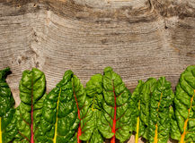 Le ricette piane di dieta sana della bietola svizzera dell'arcobaleno di disposizione deridono su backg Immagini Stock
