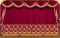 Le rideau théâtral est rouge présentation cinéma photographie stock