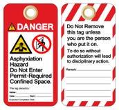 Le risque d'asphyxie de danger n'écrivent pas le signe Autorisation-exigé de symbole de label de calibre d'étiquette de l'espace  illustration de vecteur