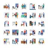 Le riunioni d'affari, le discussioni, lavoro in corso, illustrazioni piane imballano illustrazione di stock