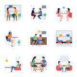 Le riunioni e le illustrazioni piane del rinfresco imballano illustrazione di stock