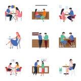 Le riunioni e le illustrazioni piane del rinfresco imballano royalty illustrazione gratis
