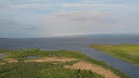 Le rivage de la lagune de la Vistule couverte de précipitations banque de vidéos