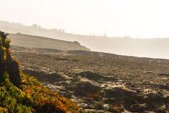 Le rivage rocheux au Portugal a couvert dans différentes couches de brume Images stock