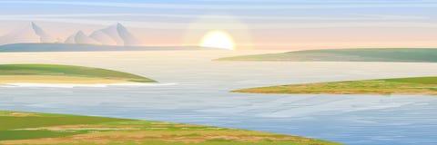Le rive della baia Montagne e cielo royalty illustrazione gratis