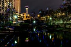 Le Riverwalk à San Antonio, le Texas, la nuit Photo libre de droits