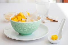 Le riz au lait avec la mangue et la noix de coco arrosent dans une cuvette, fond de blanc de muang de mA de niaow de khao Photographie stock libre de droits