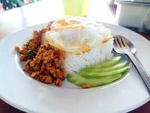 Le riz avec l'émoi a fait frire du poulet et du basilic image stock