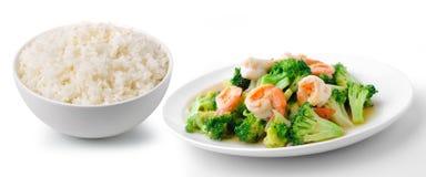 Le riz avec la nourriture saine thaïlandaise a fait sauter à feu vif le brocoli avec la crevette Photo libre de droits
