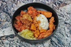 Le riz avec le poulet cuit à la friteuse, picklesl découpé en tranches a complété le yel japonais Photo libre de droits