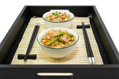 Le riz avec un poisson et chiÑken sur le plateau Photographie stock