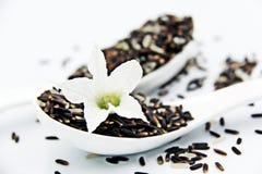 Le riz brun et les fleurs se ferment dans la cuillère Photo libre de droits