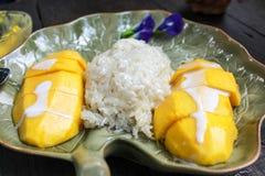 Le riz visqueux mangent avec des mangues Photographie stock libre de droits