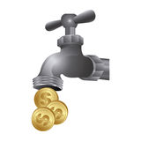 le robinet avec des pièces de monnaie sauvent l'eau Images stock