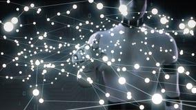 Le robot, écran tactile de cyborg, canalisation de raccordement de points, points fait la carte globale du monde, Internet des ch illustration stock