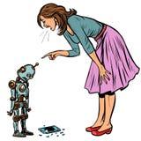 Le robot a cassé le téléphone La femme gronde coupable illustration de vecteur