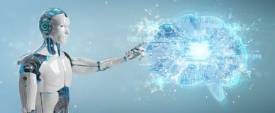 Le robot créant l'intelligence artificielle dans un cerveau numérique 3D ren