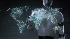 Le robot, cyborg pointille la canalisation de raccordement, points fait la carte globale du monde, Internet des choses 6 illustration stock