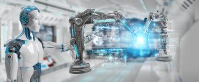 Le robot d'homme blanc utilisant la robotique arme avec le rende numérique de l'écran 3D illustration de vecteur