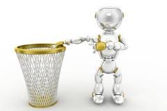 le robot 3d réutilisent la poubelle Image stock