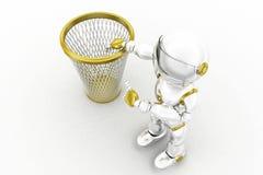 le robot 3d réutilisent la poubelle Images libres de droits