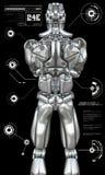 Le robot de Chrome avec des têtes lèvent des graphiques Images libres de droits
