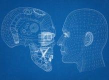 Le robot et la tête humaine conçoivent - l'architecte Blueprint illustration libre de droits