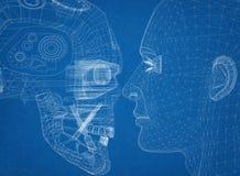 Le robot et la tête humaine conçoivent - l'architecte Blueprint illustration de vecteur