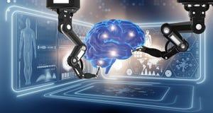 Le robot exécutant la chirurgie sur le cerveau principal illustration de vecteur