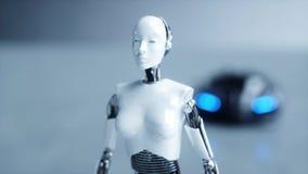 Le robot femelle de humanoïde futuriste est walkihg à la voiture Concept d'avenir rendu 3d Photo libre de droits