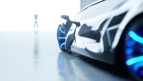 Le robot femelle de humanoïde futuriste est walkihg à la voiture Concept d'avenir rendu 3d Images stock