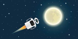 Le robot mignon vole à la pleine lune dans l'espace illustration libre de droits