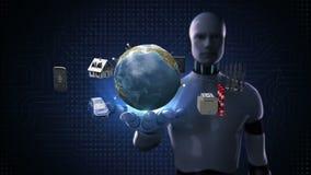 Le robot, paume ouverte de cyborg, maison futée, usine futée, bâtiment, voiture, mobile, sonde d'Internet relient le technolog gl illustration libre de droits