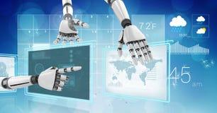 Le robot remet l'interaction avec des panneaux d'interface de technologie de temps du monde illustration de vecteur