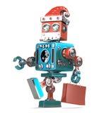 Le robot Santa marche avec le panier Contient le chemin de coupure illustration libre de droits